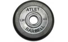 Диск обрезиненный, чёрного цвета, 26 мм, 1,25 кг  Atlet